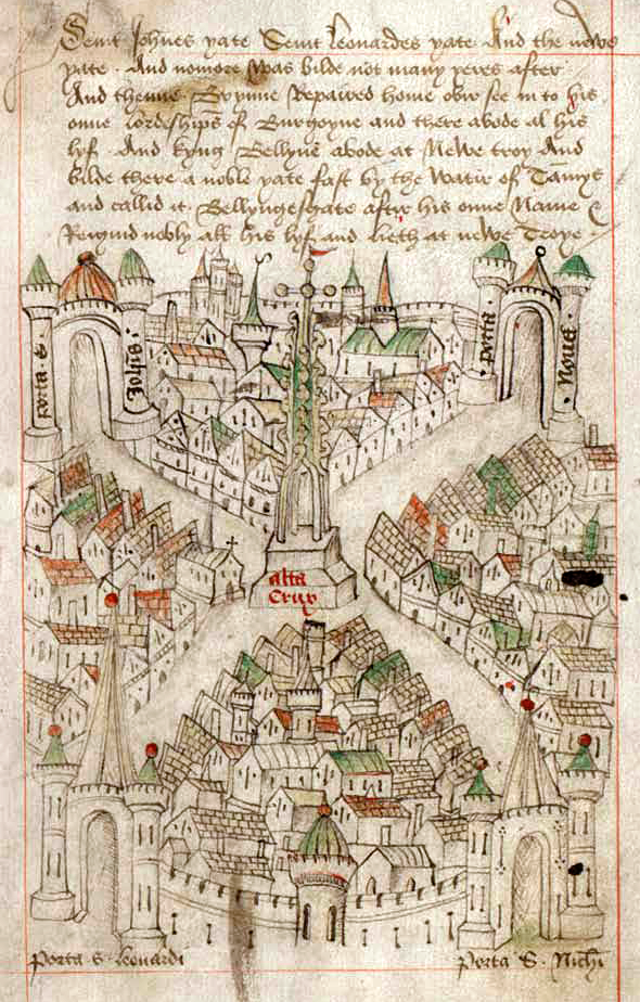 pictorial map of Bristol, 1478.